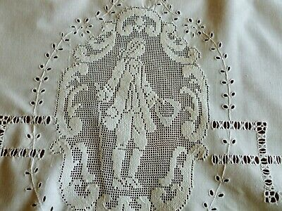 Lovely Pr French Antique Hand Embroidered Pillow Layover Sham Figural Filet Lace