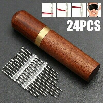 24PCS/Set Thick Big Eye Sewing Self-Threading Needles Embroidery Hand Sewing