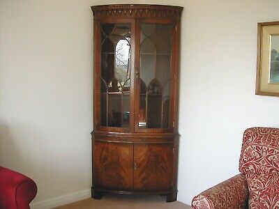 Bevan Funnell Reprodux Mahogany Corner Display Cabinet