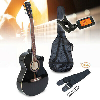 "Black Johnny Brook 40"" Cutaway Acoustic Guitar Kit with Bag Tuner Picks Strap"