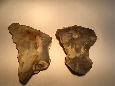 Neolithic Retouched Tools.flint Scraper And Blade.prehistoric
