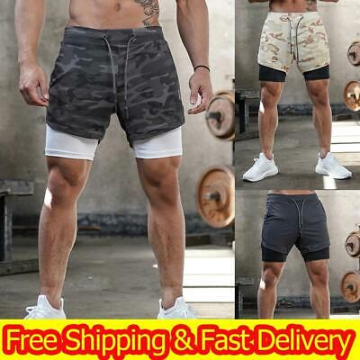 Mens Shorts Sports Gym Jogging Running Fitness Shorts Pants 2 in 1 With Pockets