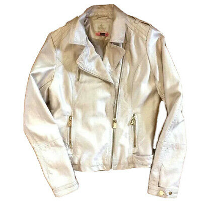 Immaculate Faux Rose Gold Leather Biker Jacket Size UK6-8, Girls 14-16