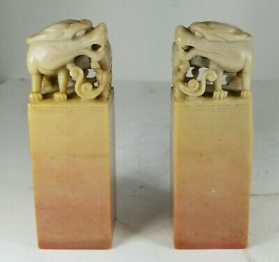 Antique Vintage Carved Soapstone Chinese Style Chop Seals Dragon Decoration