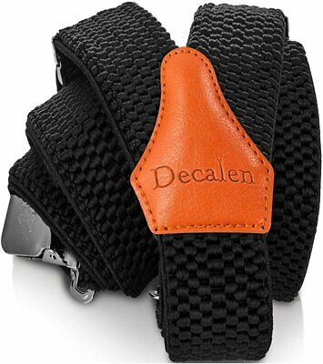 Decalen Mens Braces with Very Strong Clips Heavy Duty Suspenders One Size...