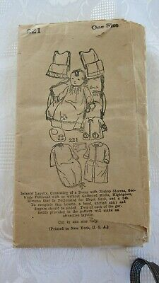 Antique ~ 1920's Original SEWING PATTERN~BABY LAYETTE # 221 UNPRINTED ~ One Size