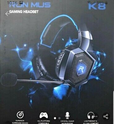 RUNMUS Black/Blue Gaming Headset for Xbox One, Playstation 4