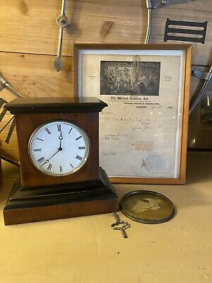 Antique Ebonised French Movement Mantle Clock With Receipt Framed