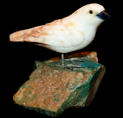 Realistic Vintage Carved Marble White Spotted Finch Stone Art Craft Bird PERU