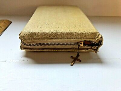 VINTAGE The Holy Bible King James Version, Compact, White Leather Zipper w Cross