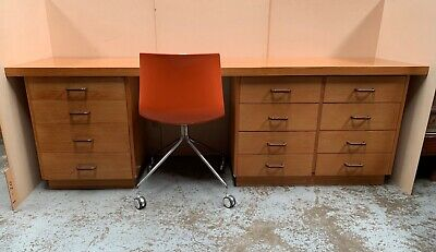 VINTAGE long MODULAR DESK w DRAWERS Mid Century Work Childrens Drawing Office