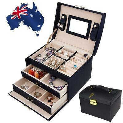 Large Jewellery Box Rings Necklace 3 Layer Storage Lock Organiser Display Case