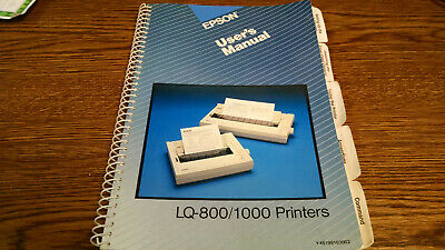 Epson Lq-800/1000 Owners Manual