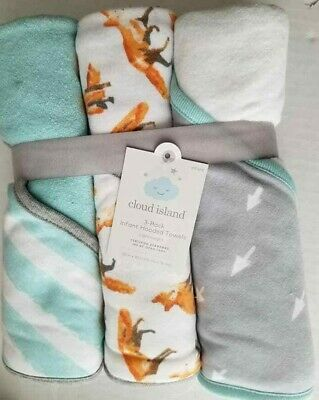 """NEW Cloud Island 3 pack Infant Hooded Towels Light Weight 30"""" x30"""" Peachy Keen"""