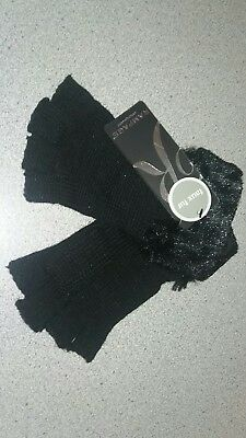 Women's Fingerless Gloves RAMPAGE Black Faux Fur New NWT  $18