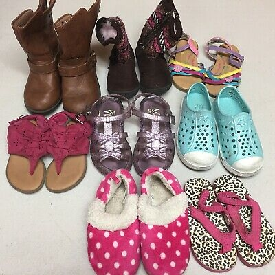 Mixed Lot Of 8 Pairs Size 5-8 Girls Toddler Kids Children's Shoes Sandals Boots