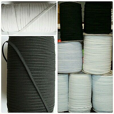3mm ,6mm & 12mm Narrow White & Black Flat Elastic 5 metre & 10 metre Bundles