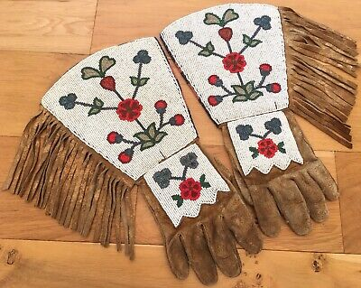 19th C Native American Gauntlet Gloves Fully Beaded Floral Plains Plateau