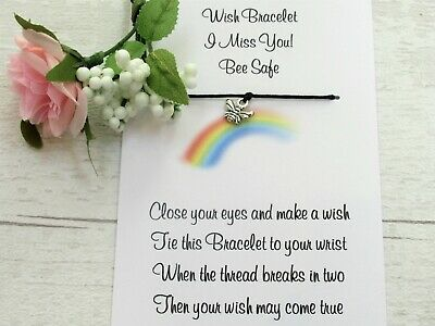 I Miss You Wish Bracelet Friendship Gift Card Bee Charm Positivity Motivational