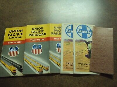 Lot Of 5 Railroad Time Tables From The 1950'S, Union Pacific And More