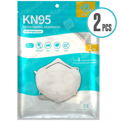 2x KN95 FFP2 N95 Face Mask Protection Non Surgical Medical Anti Bacterial Pollen