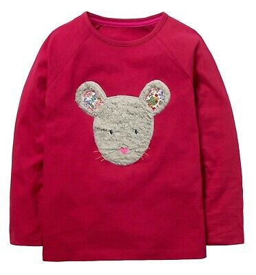 Mini Boden Animal Furry Mouse Face Applique Long Sleeve T-Shirt RRP£20 2-12yrs