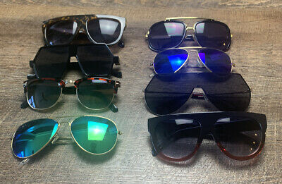 Lot of 8 Blue Green Brown Aviator Black Gold Plastic 2 Tone Flat Top Sunglasses