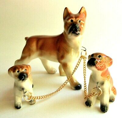 Vintage Dog Boxer Mother with Puppies on Chain Figurines Japan
