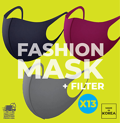 3D Fashion Face Mask With 13 Filters, Washable & Reusable, Unisex MADE IN KOREA