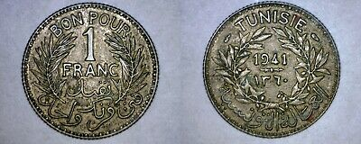 1941 (AH1360) Tunisian 1 Franc World Coin - Tunisia