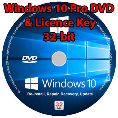 Windows 10 professional pro 32-bit DVD cd disc and License Key Code Bootable