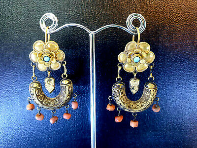 Ancient Solid 22K Gold Flower Turquoise Pollen Red coral goddess Dangle Earrings
