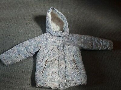Girls NEXT 3-4 Years Floral Winter Jacket Sherpa Fur Lined Hooded Zip Up