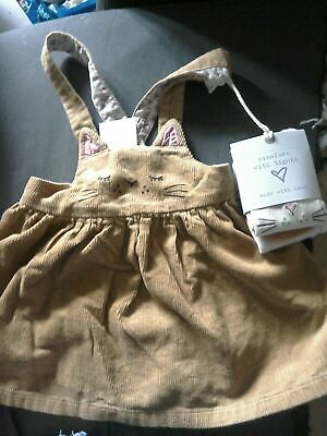Next Girls Cat Pinafore Dress & Tights Size 2-3 Years