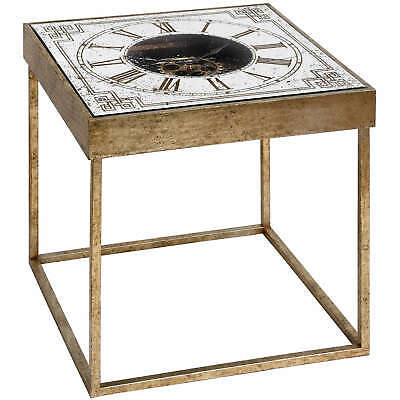 Mirrored Square Framed Clock Table with Moving Mechanism Side Coffee Living Room