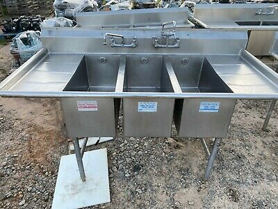 """Fully Commercial Heavy Duty 77.5"""" Stainless Steel 3 Compartment Kitchen Sink NSF"""