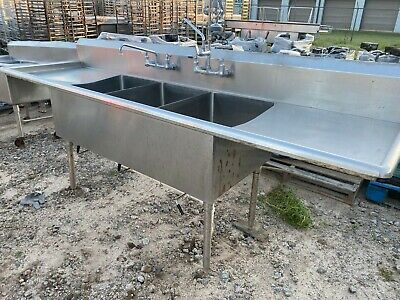 """Heavy Duty 105.5"""" x 29.5"""" Commercial Stainless Steel 3 Compartment Wash Sink NSF"""