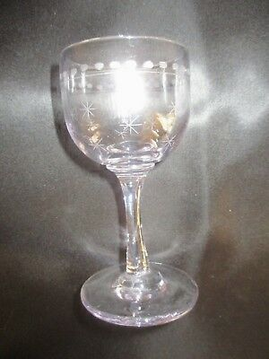 Antique 1800's Victorian Star Cut Etched Purple Tinge Wine Sherry Cordial Glass