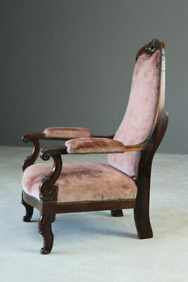 Antique Victorian Mahogany Open Arm Chair Armchair Bedroom Fireside