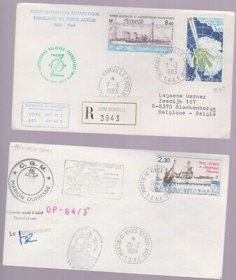 ANTARCTIC COVER-French Antarctic Territory- Lot of Two Covers-One registered