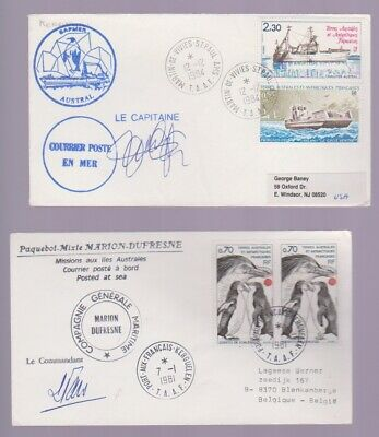 ANTARCTIC COVER-French Antarctic Territory- Lot of Two Covers-Both signed