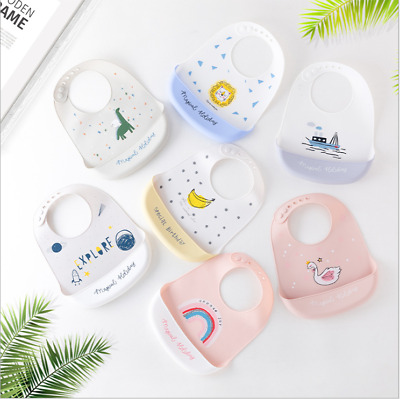 Baby Bibs Cute Dishwasher safe Comfortable Silicone Feeding Food Catcher Plastic