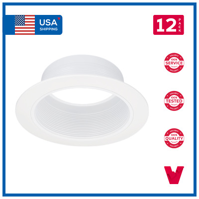 """6"""" 6 Inch White Baffle White Ring Recessed Can Light Housing Trim 12 Pack"""