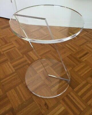 Vintage clear lucite Z end side occasional table acrylic mod