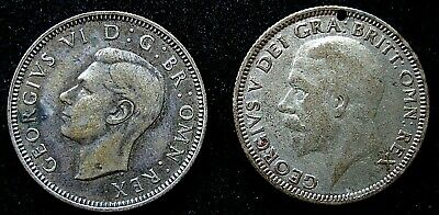 2X Great Britain Uk 1933 & 1939 1 Shilling Silver Coins  2158