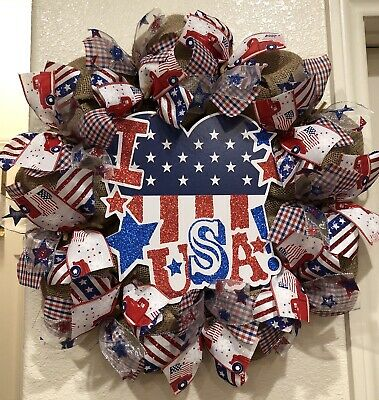 I 💖 USA FARMHOUSE Burlap DECO MESH 4TH OF JULY Wreath VINTAGE TRUCK Rustic