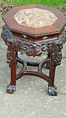 Asian Antique Wood carved Canton Chinese plant stand Pedestal table with Marble