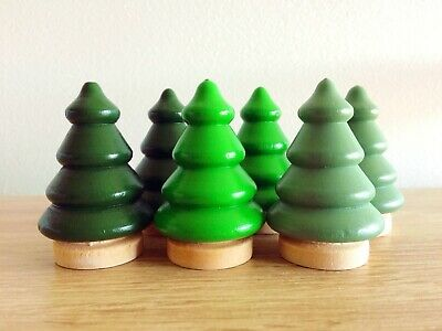57mm Hand Painted Wooden Peg Trees Set of 4 Green
