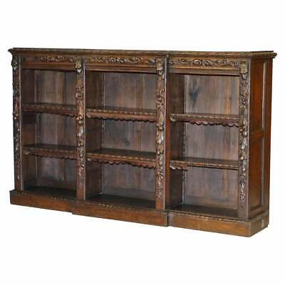 Early Victorian Jacobean Revival Breakfront Bookcase Original Leather Trimming