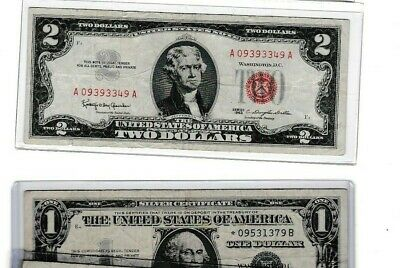 1963 $2 red seal & 1957 $1 silver certificate star note lot 1 of ea,
